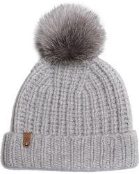 Mackage - Doris Cashmere Knit Hat With Fur Pompom - Light Grey - O s 557700e2a87