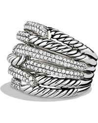 David Yurman - 'labyrinth' Triple-loop Ring With Diamonds - Lyst
