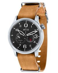 AVI-8 - Flyboy Tuck Automatic Leather Strap Watch - Lyst