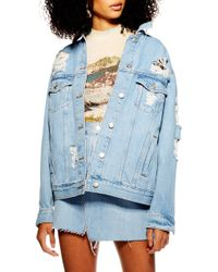 523093e99 Topshop Moto Ripped Denim Jacket in Blue - Lyst