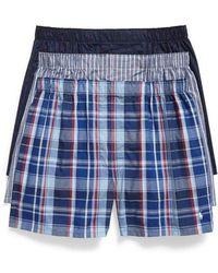 Polo Ralph Lauren - 3-pack Woven Cotton Boxers, Blue - Lyst