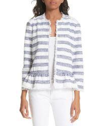 Kate Spade - Stripe Fringe Peplum Tweed Jacket - Lyst