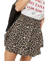 TOPSHOP | Tiered Leopard Skirt | Lyst