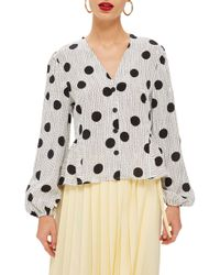 TOPSHOP - Spotted Peplum Blouse - Lyst