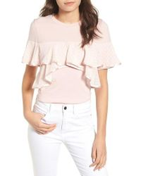 Lost Ink - Ruffle Tee - Lyst
