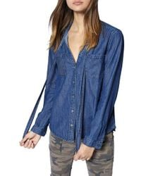 Sanctuary - Tie Neck Chambray Shirt - Lyst