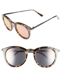 Le Specs - 'no Smirking' 50mm Round Sunglasses - Volcanic Tortoise/ Black - Lyst