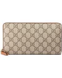 74e728e6edb1 Gucci - Linea Gg Supreme Canvas Zip Around Wallet - Lyst