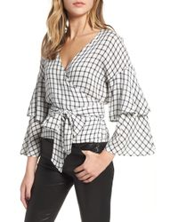 Cupcakes And Cashmere - Jonnie Plaid Wrap Top - Lyst