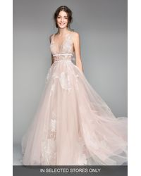 WILLOWBY Galatea Embroidered V-neck Tulle Wedding Dress - Pink