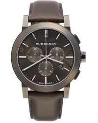 Burberry - Check Stamped Chronograph Leather Strap Watch - Lyst