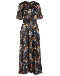 Adam Lippes - Floral Print Hammered Silk Dress - Lyst