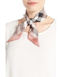 Burberry - Exploded Check Mulberry Silk Shortie Scarf - Lyst