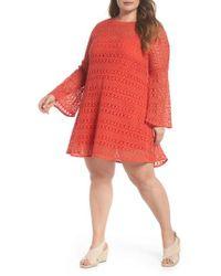Elvi - The Dahlia Bell Sleeve Crochet Shift Dress - Lyst
