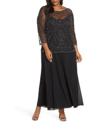 Pisarro Nights - Pissaro Nights Beaded Mesh Mock Two-piece Gown - Lyst