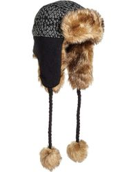 Helly Hansen - Knitted Faux Fur Trapper Hat - Lyst