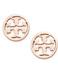 Tory Burch - Circle Logo Stud Earrings - Lyst