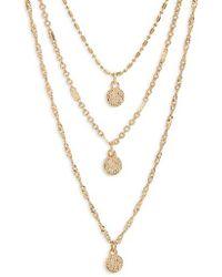Panacea - Triple Strand Circle Drop Necklace - Lyst