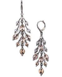 Jenny Packham - Pave Crystal Leaf Chandelier Earrings - Lyst