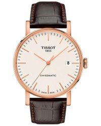 Tissot - Everytime Swissmatic Leather Strap Watch - Lyst