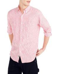 J.Crew | J.crew Slim Fit Stripe Irish Linen Shirt | Lyst
