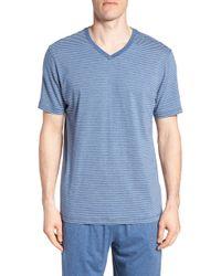 Daniel Buchler - Stripe Pima Cotton & Modal V-neck T-shirt - Lyst