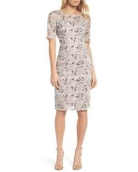 Adrianna Papell | Suzette Embroidered Sheath Dress | Lyst