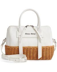 Miu Miu - Midollino Leather & Rattan Satchel - Lyst