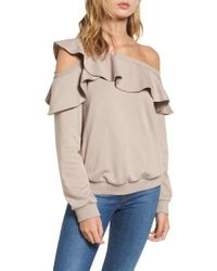 Lush - One-shoulder Ruffle Sweatshirt - Lyst