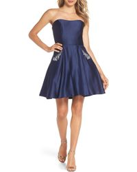 Blondie Nites - Embellished Satin Fit & Flare Dress - Lyst