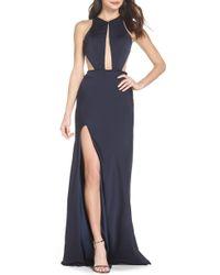 La Femme - Cutout Detail Satin Gown - Lyst