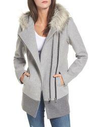 CoffeeShop - Double Zip Faux Fur Trim Coat - Lyst