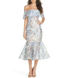Bronx and Banco - Butterfly Embroidered Off The Shoulder Mermaid Dress - Lyst