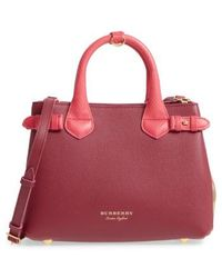 Burberry - Small Banner - Derby House Check Leather Satchel - Lyst