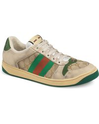 aaa55783ff2 Gucci Screener Dirty Lace-up Sneakers in White for Men - Lyst