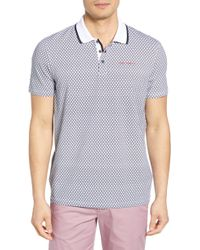 6ef3026b1 Lyst - Ted Baker  missow  Slim Fit Woven Collar Polo in Gray for Men