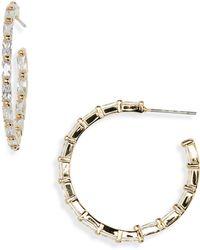 Nordstrom - Modern Stone Baguette Crystal Hoop Earrings - Lyst