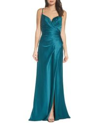 La Femme - Strappy Ruched Bodice Gown - Lyst