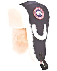 Canada Goose - 'arctic' Tech Pilot Hat With Genuine Shearling Lining - Lyst