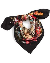 Burberry - Floral Scribble Square Silk Scarf - Lyst