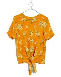 Madewell - Butterfly Garden Button Back Silk Tee - Lyst