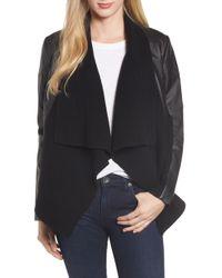 Caslon - Caslon Ribbed Drape Front Faux Leather Jacket - Lyst