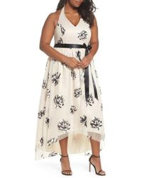 Marina - Mesh Embroidered Halter Gown - Lyst
