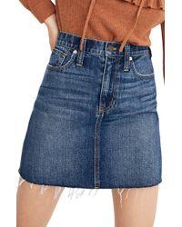 Madewell - Reworked Rigid Denim Straight Miniskirt - Lyst