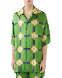 fa31cc24afdd Gucci Angry Tiger-print Silk Bowling Shirt in Green for Men - Lyst