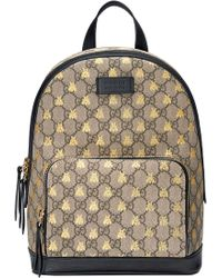 a8d7e20e6f5d Gucci Gg Supreme Canvas & Leather Padlock Backpack in Black - Lyst
