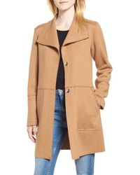 Kenneth Cole - Envelope Collar Wool Blend Knit Coat - Lyst