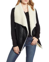 Heurueh - Fly Away Faux Shearling Back Zip Vest - Lyst