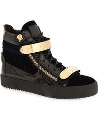 Giuseppe Zanotti - Navy Velvet May London High-top Sneakers - Lyst