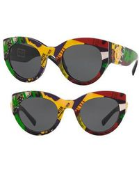 Versace - Tribute 51mm Cat Eye Sunglasses - Comic Print Solid - Lyst